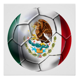 Engranaje de la bandera mexicana del balón de fútb póster