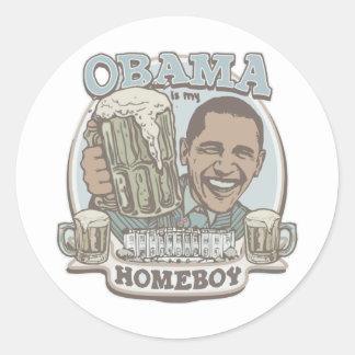 Engranaje de la cerveza del Homeboy de Obama Etiqueta Redonda