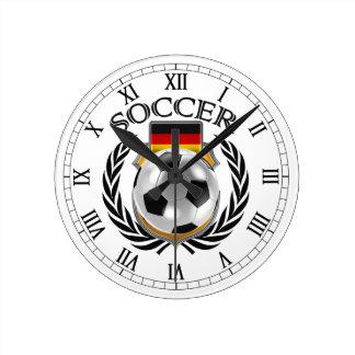 Engranaje de la fan del fútbol 2016 de Alemania Reloj Redondo Mediano