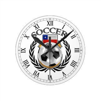 Engranaje de la fan del fútbol 2016 de Chile Reloj Redondo Mediano
