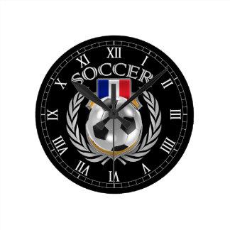 Engranaje de la fan del fútbol 2016 de Francia Reloj Redondo Mediano