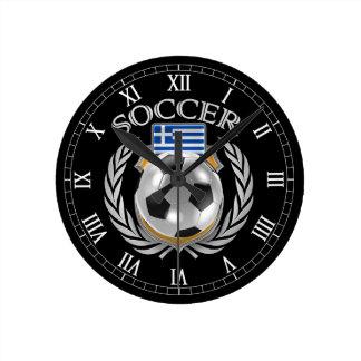 Engranaje de la fan del fútbol 2016 de Grecia Reloj Redondo Mediano