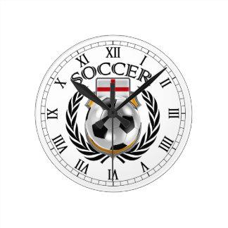 Engranaje de la fan del fútbol 2016 de Inglaterra Reloj Redondo Mediano