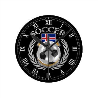 Engranaje de la fan del fútbol 2016 de Islandia Reloj Redondo Mediano