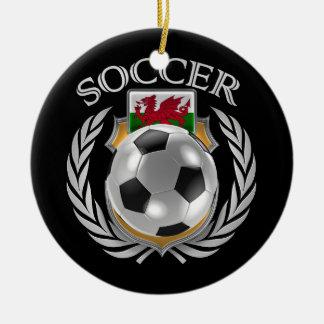 Engranaje de la fan del fútbol 2016 de País de Adorno Navideño Redondo De Cerámica