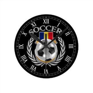 Engranaje de la fan del fútbol 2016 de Rumania Reloj Redondo Mediano