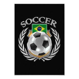"""Engranaje de la fan del fútbol 2016 del Brasil Invitación 3.5"""" X 5"""""""