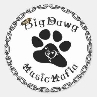 Engranaje de la mafia de la música de BigDawg Pegatina Redonda