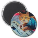 Engranaje de la pintura del gato del teclado imanes para frigoríficos