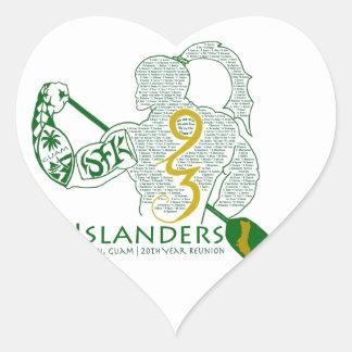 Engranaje de la reunión de los isleños 93 de JFK Pegatina De Corazón Personalizadas