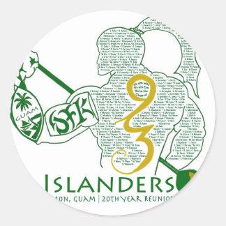 Engranaje de la reunión de los isleños 93 de JFK Etiquetas Redondas