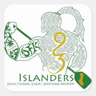 Engranaje de la reunión de los isleños 93 de JFK Colcomanias Cuadradas Personalizadas