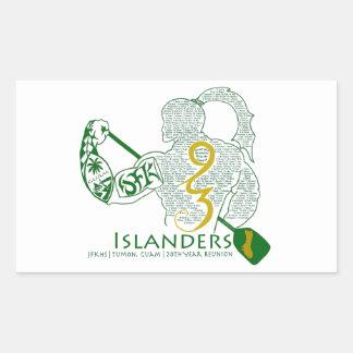 Engranaje de la reunión de los isleños 93 de JFK Rectangular Pegatina