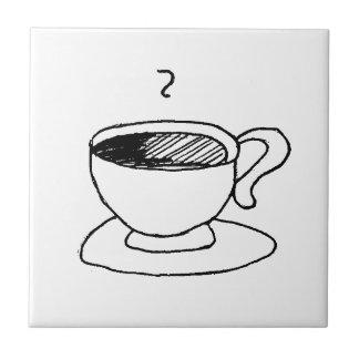 Engranaje de la taza de café del dibujo animado azulejo cuadrado pequeño