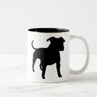 Engranaje de Staffordshire Terrier americano Taza De Dos Tonos