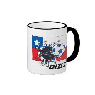 Engranaje del aficionado al fútbol del chile taza de dos colores
