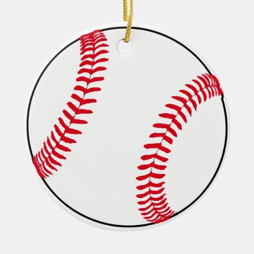 Engranaje del béisbol adorno navideño redondo de cerámica