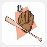Engranaje del béisbol colcomanias cuadradas personalizadas