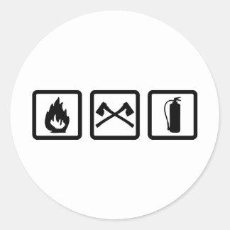 engranaje del bombero pegatina redonda