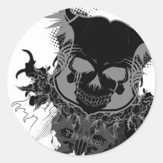 Engranaje del cráneo pegatina redonda
