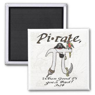 Engranaje del día del pirata pi imán cuadrado