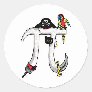 Engranaje del día del pirata pi etiqueta redonda