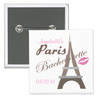 Engranaje del fiesta de París Bachelorette Pin Cuadrada 5 Cm