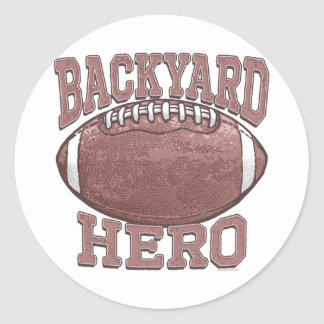 Engranaje del fútbol del héroe del patio trasero etiquetas redondas