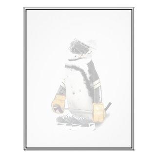 Engranaje del hockey del pequeño pingüino que tarjetas informativas