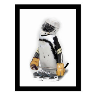 Engranaje del hockey del pequeño pingüino que postales