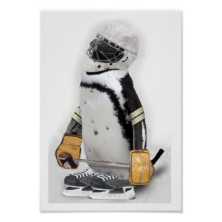 Engranaje del hockey del pequeño pingüino que póster