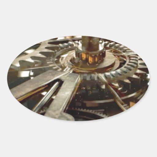 Engranaje del rotor de la maquinaria del VINTAGE Pegatina Ovalada