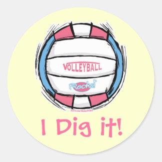 Engranaje del voleibol de los chicas por los pegatina redonda