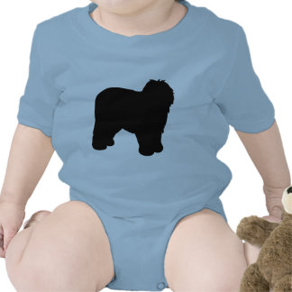 Engranaje inglés viejo del perro pastor traje de bebé