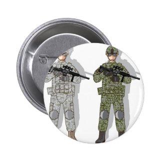 Engranaje lleno del soldado pin redondo de 2 pulgadas