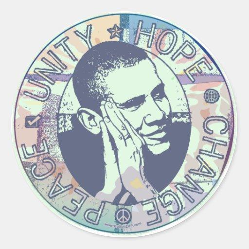 Engranaje maravilloso de Obama 2008 Pegatina Redonda