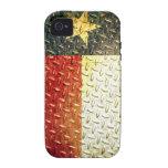 Engranaje plateado diamante de la bandera de Tejas Case-Mate iPhone 4 Carcasas