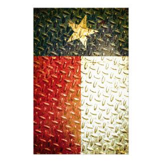 Engranaje plateado diamante de la bandera de Tejas Papelería