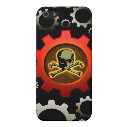 Engranaje rojo del cráneo iPhone 5 protectores