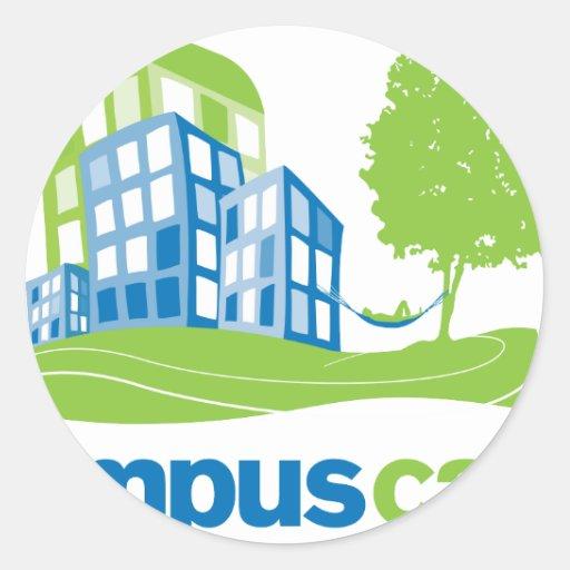 Engranaje tranquilo del logotipo del campus pegatina redonda