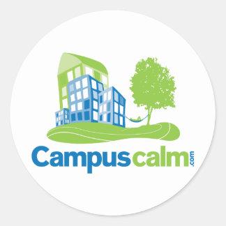 Engranaje tranquilo del logotipo del campus etiquetas redondas