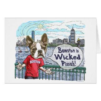 Engranaje travieso de Boston Terrier Pissah Tarjeta De Felicitación