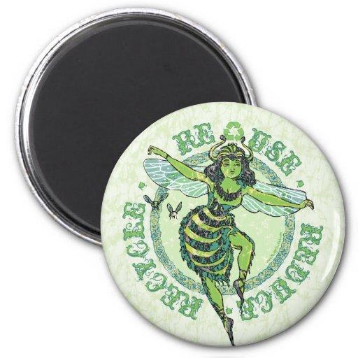 Engranaje verde del Día de la Tierra de la abeja d Imanes