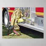 Engranaje y camión del bombero impresiones
