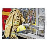 Engranaje y coche de bomberos del bombero de HDR Tarjeta De Felicitación