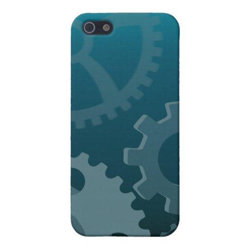 Engranajes azules iPhone 5 cárcasas