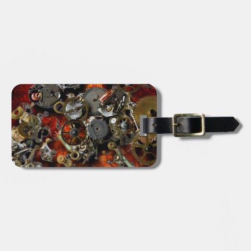 Engranajes de bronce etiquetas maleta