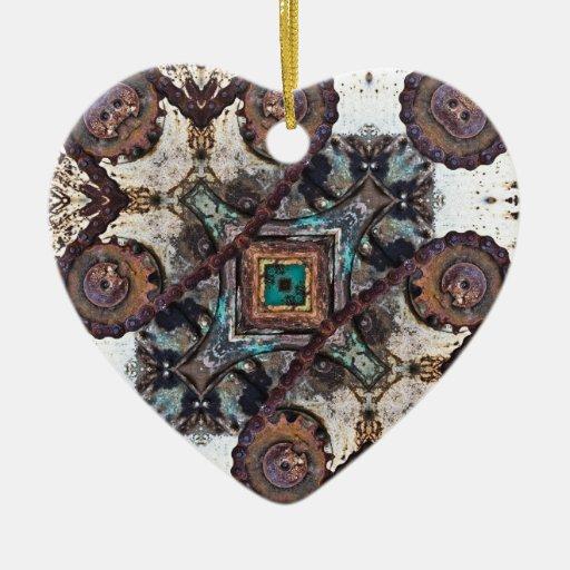 Engranajes de desplazamiento geométricos adorno navideño de cerámica en forma de corazón