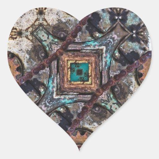 Engranajes de desplazamiento geométricos pegatina en forma de corazón