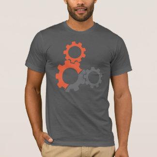 Engranajes de la bici, naranja y diseño gris playera